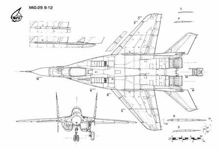 Чертежи истребителя Миг-29 изделие 9-12.